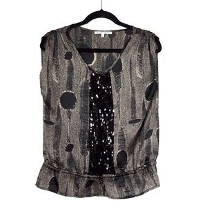 Collective Concepts Brown Black Sequin Top